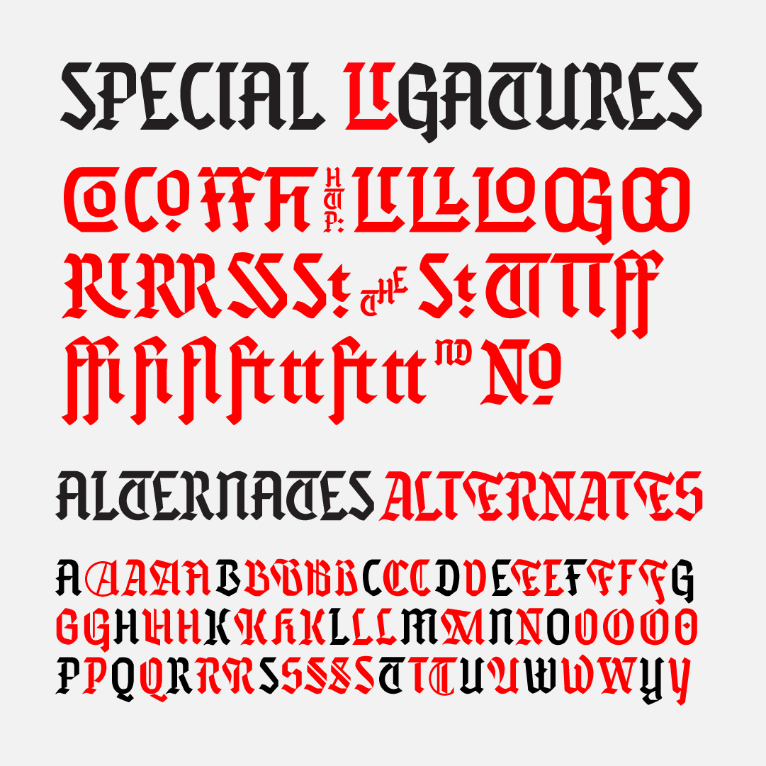 Misfits blackletter, a new typeface designed by Andrei Robu. Available on www.typeverything.com