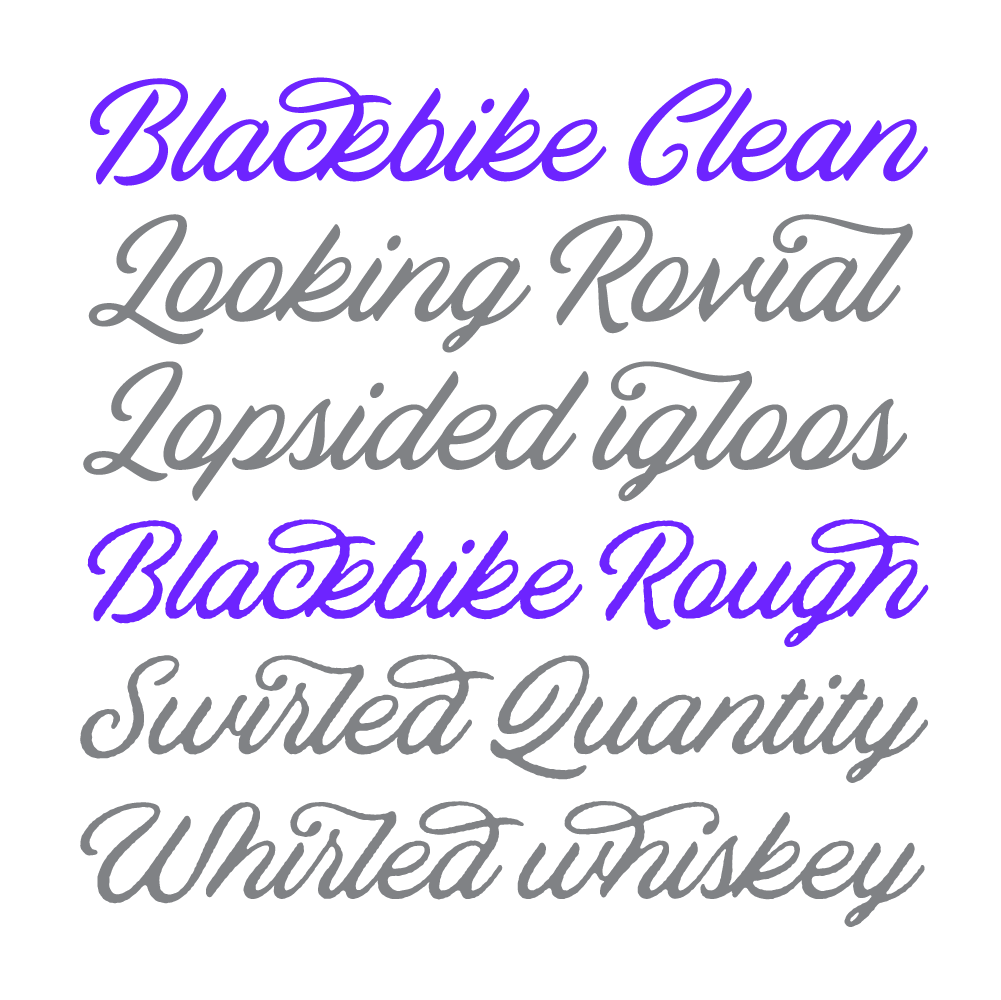 Blackbike script, a new typeface designed by Simon Walker. Available on www.typeverything.com