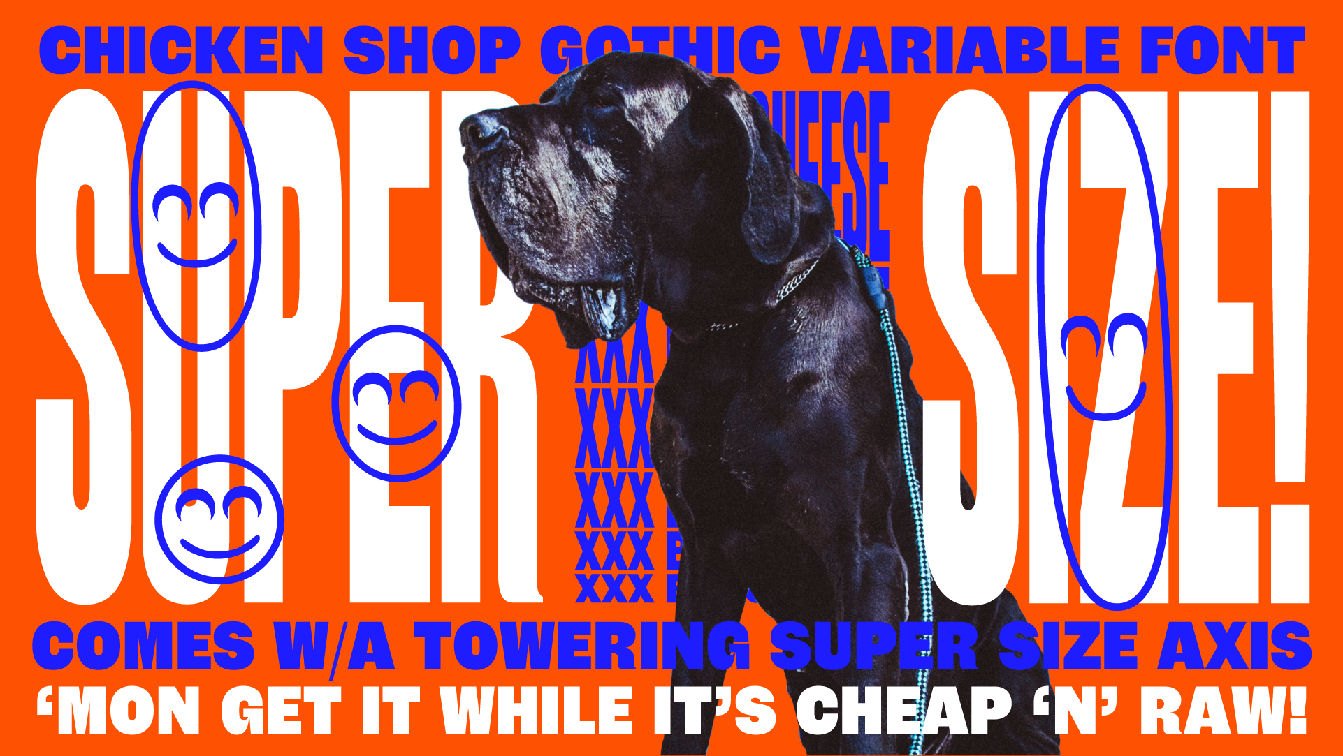 Buy the Chicken Shop Gothic variable font designed by Lewis McGuffie, now available from www.typeverything.com