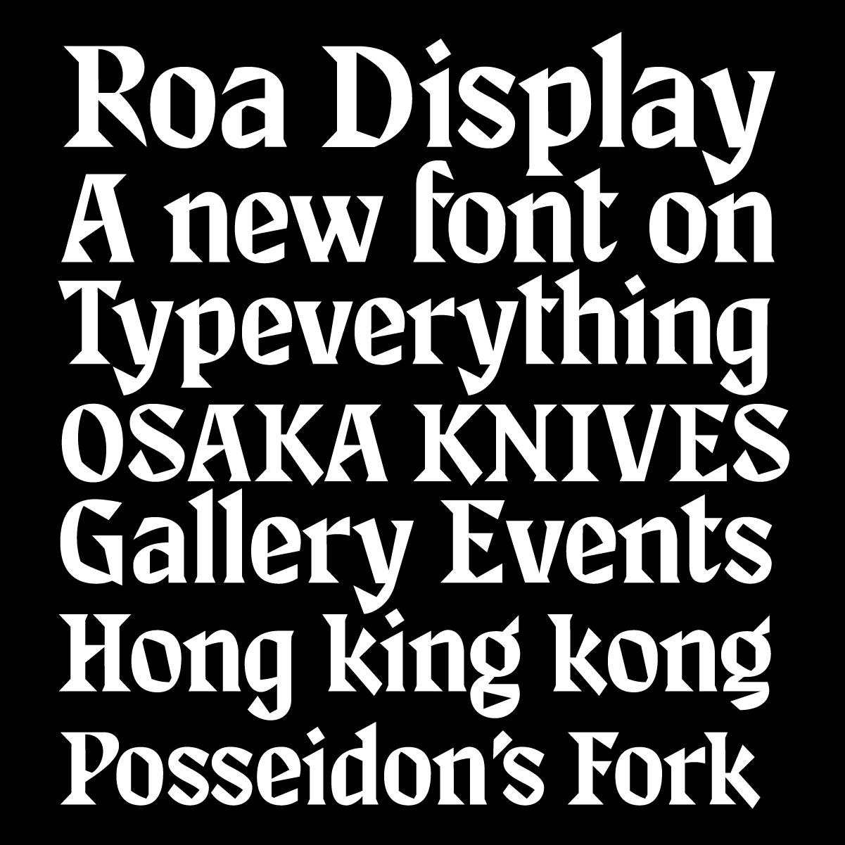 Roa Display, a new serif typeface designed by Andrei Robu for Typeverything.com