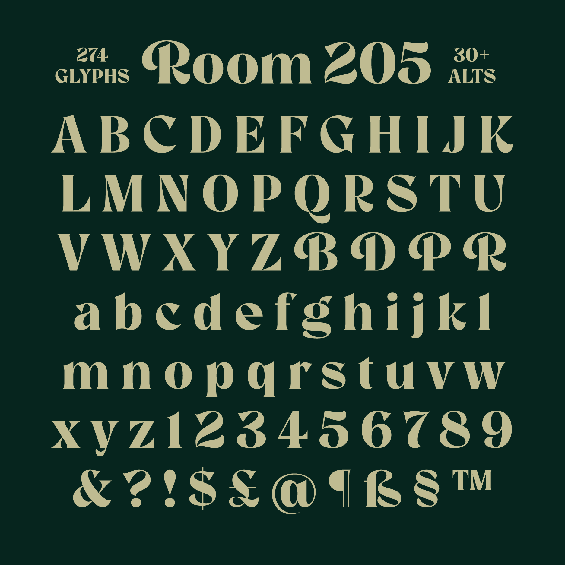 Room 205, a new typeface designed by Simon Walker. Available on www.typeverything.com