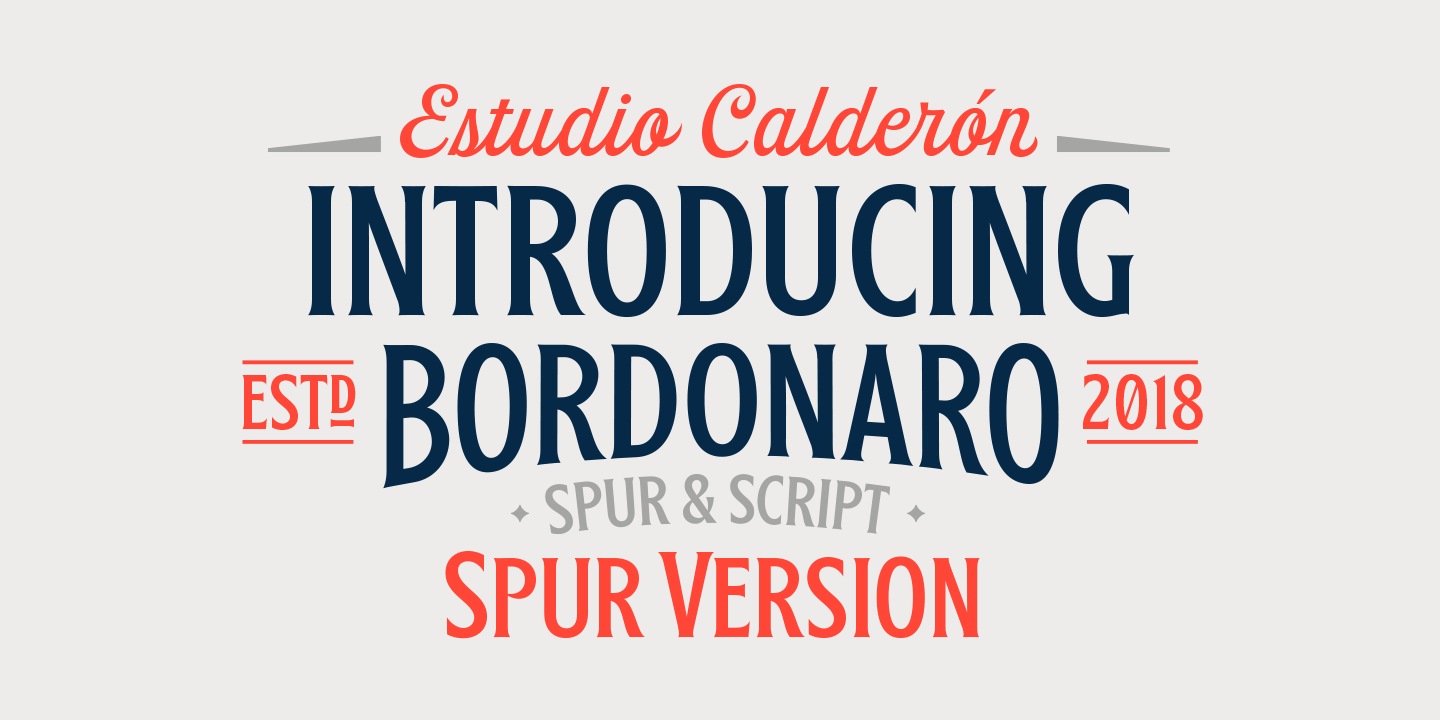 Bordonaro Spur and Script, two typefaces designed by Felipe Calderon for www.typeverything.com