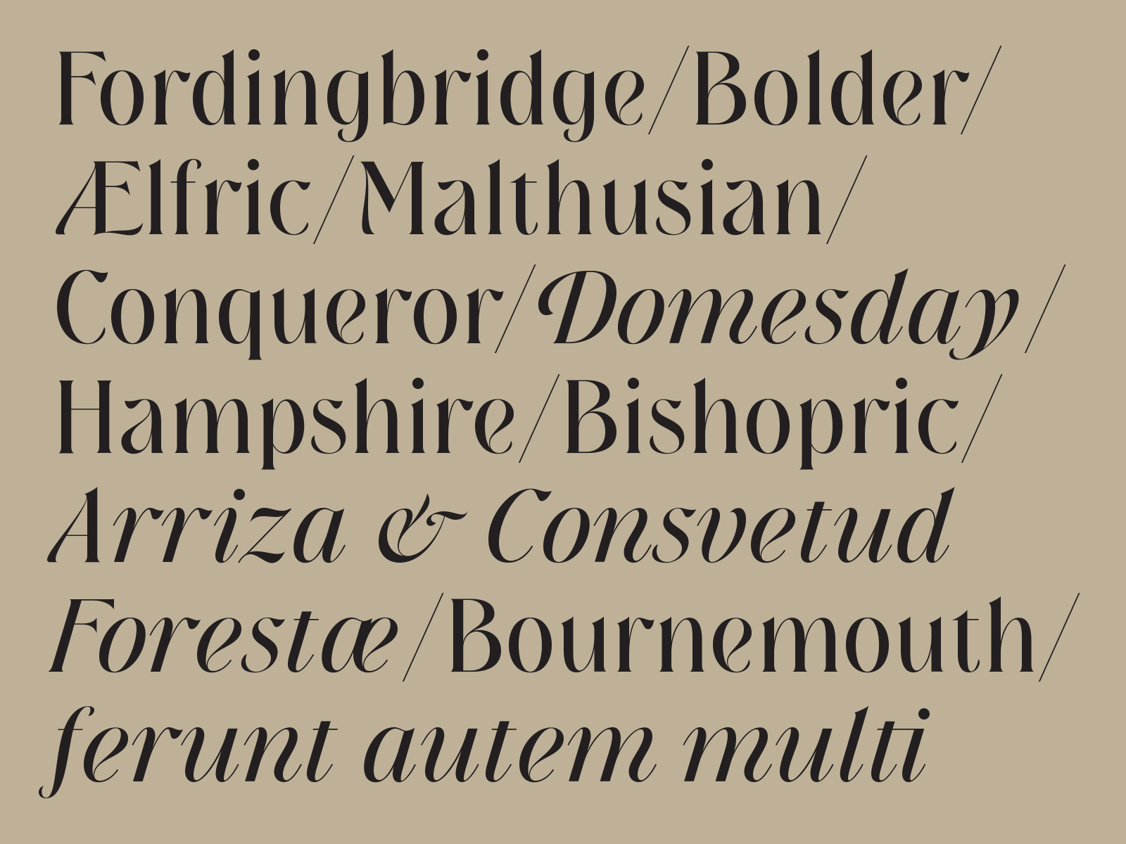 New Forest, a new display typeface designed by Simon Walker for Typeverything.com