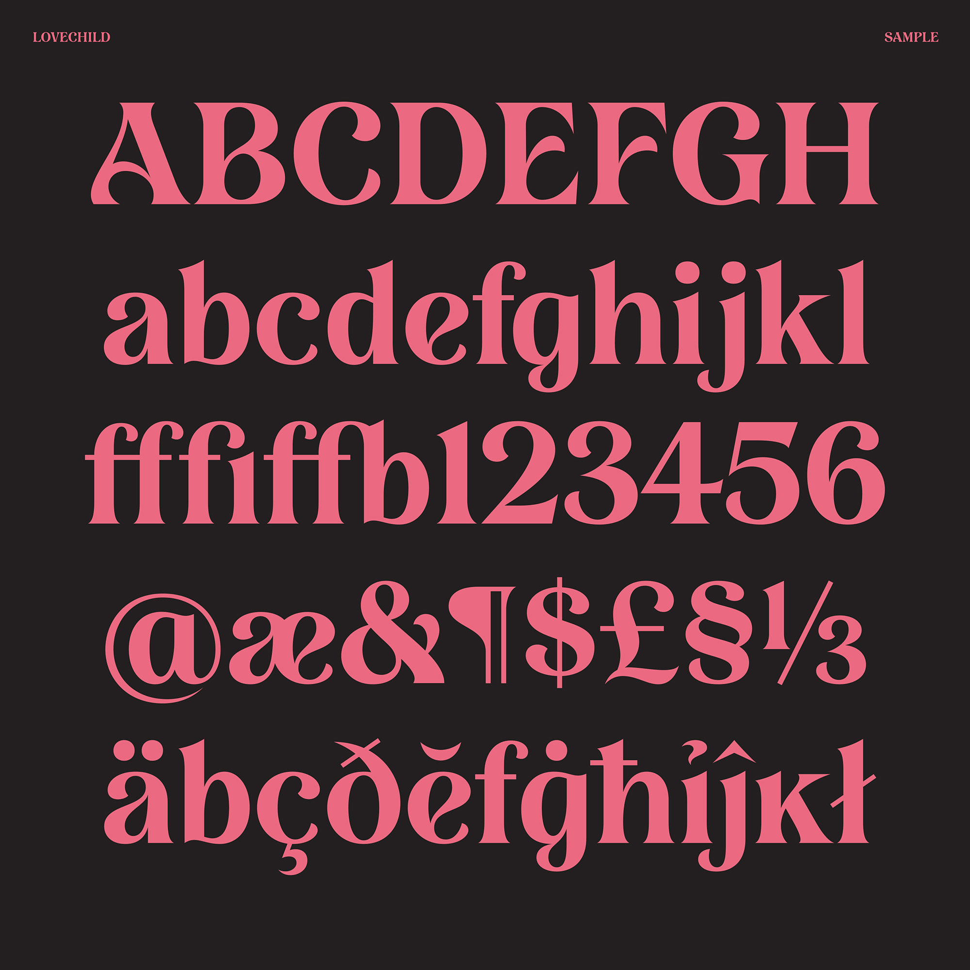 Lovechild, a new font designed by Simon Walker for Typeverything.com